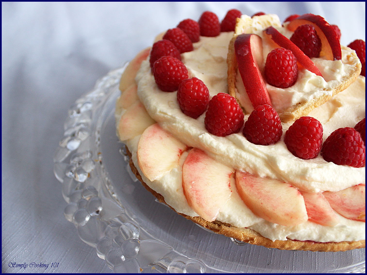 White Peaches and Raspberries with White Chocolate Mousse Tart