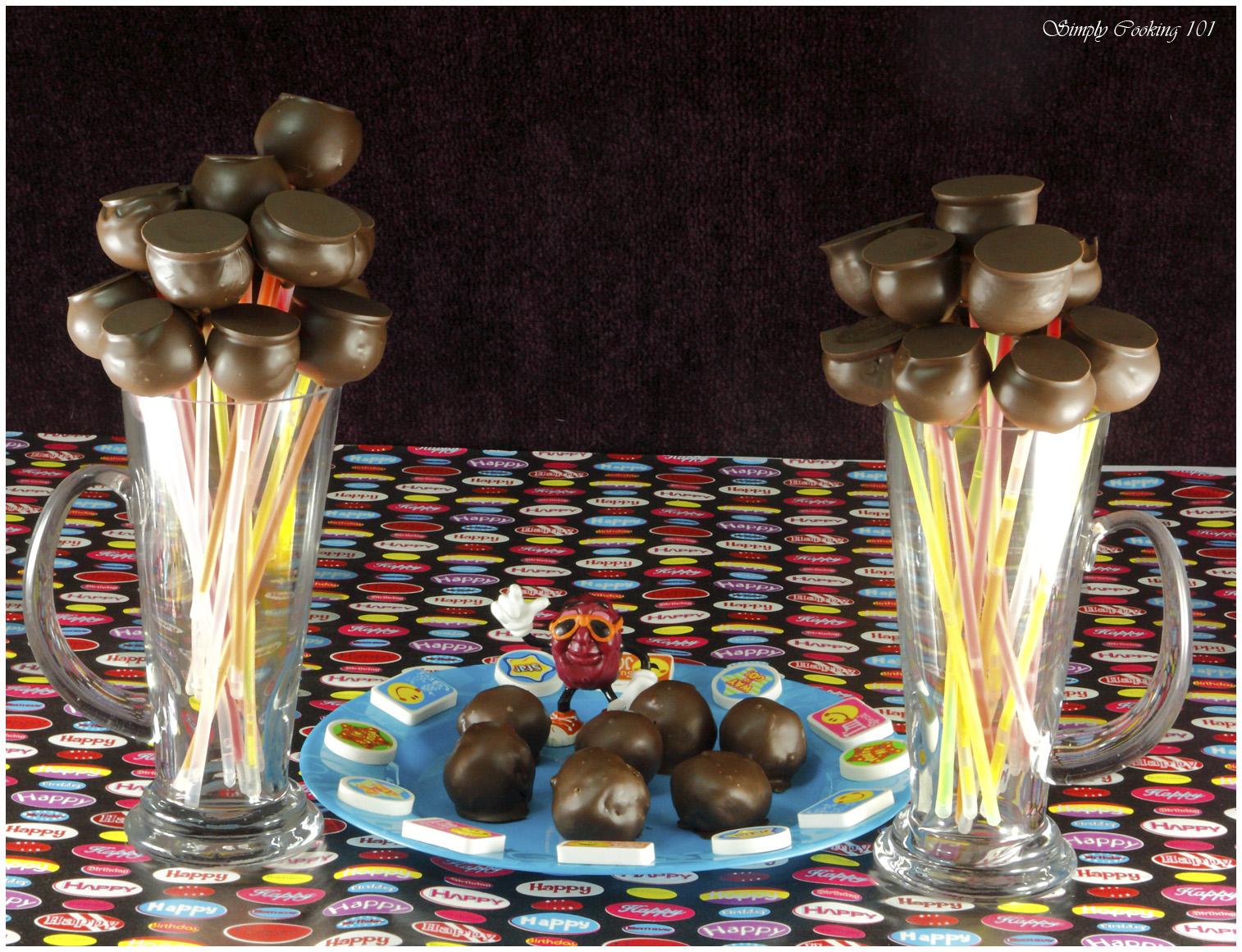 Birthday Brownie Cake Pops on Glo Sticks