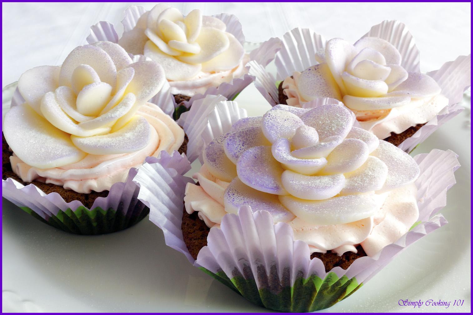 Chocolate Maraschino Cherry Cupcakes with White Chocolate Roses